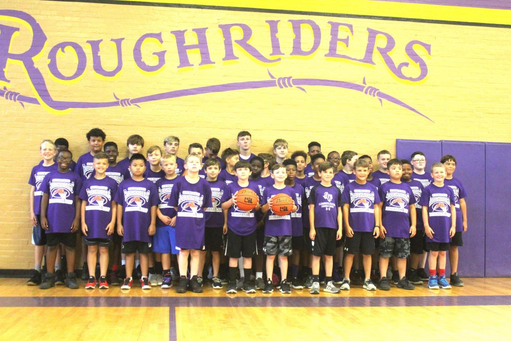 Afternoon Roughrider Basketball Camp group photo for campers entering 4th-8th grades