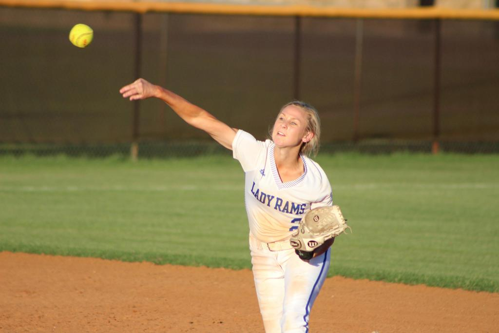 Joaquin shortstop Kennedy Stanley launches the ball to first for a quick out in the second inning. (Photo by Taylor Bragg, Freelance Photographer)