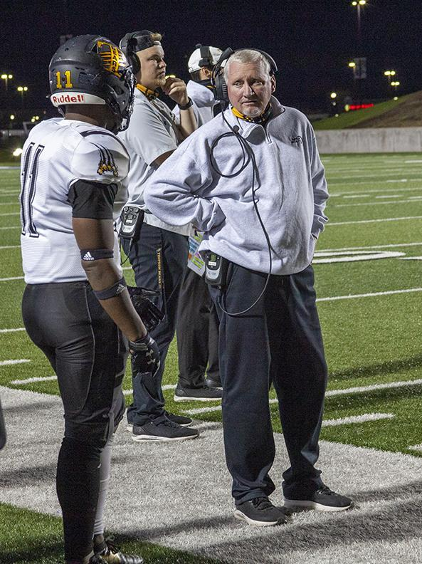 Head Bears Coach Kerry Therwhanger on the sidelines, Thursday, Dec. 10, 2020.