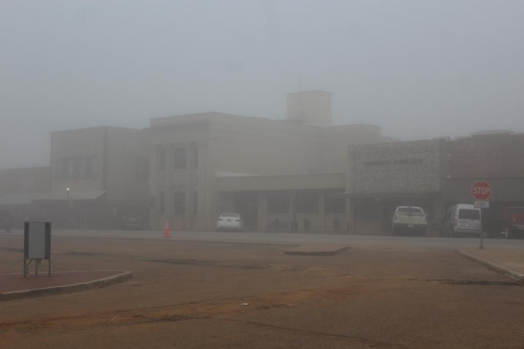 Looking toward Farmers State Bank main branch in downtown Center.